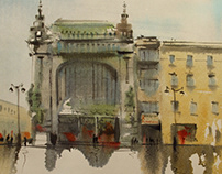 Watercolor/ Saint-Petersburg after the rain