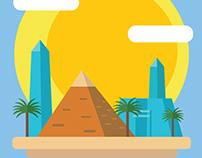 Egyptian Pyramid Flat Design