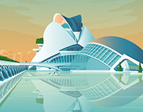 Valencia Spain Retro Travel Poster Illustration