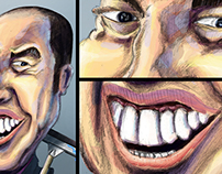 "Illustration Caricature""فيضان المغرب من سيربح التحدي"""