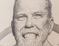 James Alan Hetfield, mural dotwork portrait