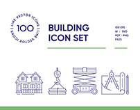 Building and Construction Line Icon Set