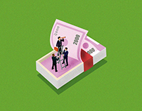 Isometric Indian Rupee Design for investment ad