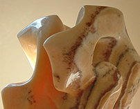 Mudras of Impermanence (Backlit) Onix Sculpture
