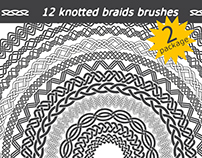 12 knotted braids brushes for Illustrator. Package 2