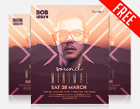 Minimal Sound – Free Flyer PSD Template + Facebook Cove