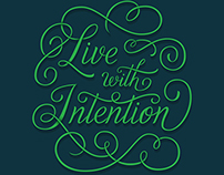 Live with Intention Free Hand Lettered Wallpaper