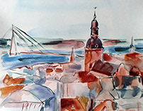 Riga in my dreams - watercolor paintings of my hometown