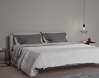 Interior realistic bed render