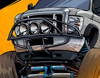 Jumping Ford Bus illustration for RMS OffRoad
