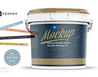 Glossy Plastic Paint Bucket Mockup 7L