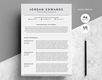 Clean Word Resume Template 4 Pages
