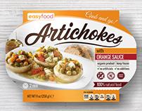 Artichokes, frozen food, packaging design