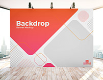Free Indoor Advertisement Backdrop Banner Mockup PSD