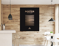 Free Restaurant Indoor Wooden Wall Poster Frame Mockup