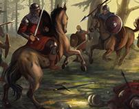 Horse battle scene