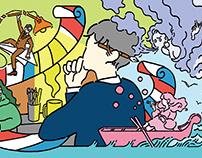 Illustration for bord game. 「ラノベ作家の人生(2017)」