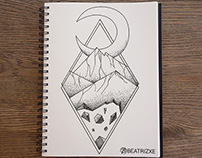 Geometric mountains (optical illusion - tattoo style)