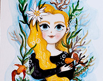 Custom watercolor portrait with sea plants and fishes