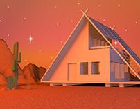 Desert House At Dusk