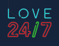 Love 24/7 Neon Light Graphic
