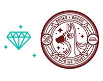 Bones & Bacon Dog Tag Badges