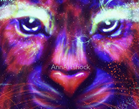 Purple Galaxy Lion