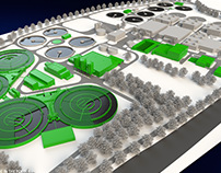 3D technical illustration | Water purification Plant