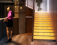 Stairs in new bar Astana city