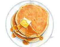 Pancakes, butter and syrup for #PancakeDay