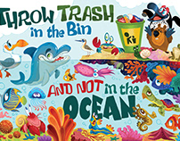 Clean Up and Recycle Ocean Poster