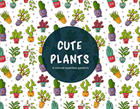 Cute Plants Vector Free Seamless Pattern