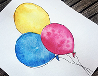 Watercolor Balloons CMYK
