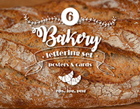 6 Lettering Bakery Posters Free Set