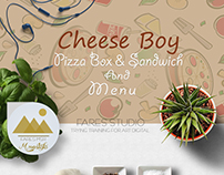 Pizza Box & Sandwich And Menu - Cheese Boy