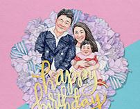 2018, Birthday card, illustration