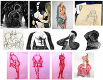 Examples of figurative drawing, sketching, and painting