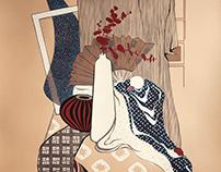 Japaneese still life. Stylization
