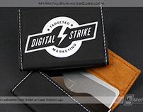 Custom Black Leatherette Business Card Holder