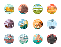 Game of Thrones Landscapes - Illustrated icon set