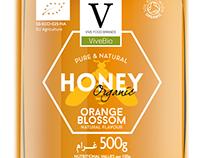 Etiqueta diseñada para la miel de productos ecológicos