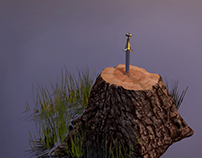 Dagger and Tree 3D Model