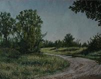 Stefan Popovic, Village road, oil on canvas 2015