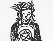 Skate girl lino print