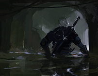 Geralt exits from the canals