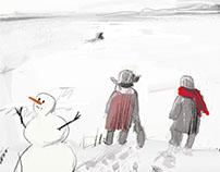 """Иллюстрации про медведя на льду. Журнал """"Кукумбер"""""""