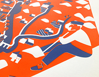 Silk-screen printing map