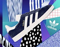 Adidas Gazelle Mixed media collages