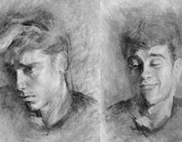 Charcoal Self Portraits