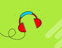 Gadgets Illustration - Mobile & Headphone